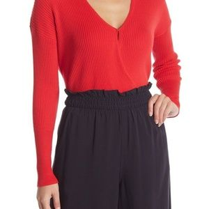 Elodie Sweater Red Ribbed Wrap Vneck Size XS
